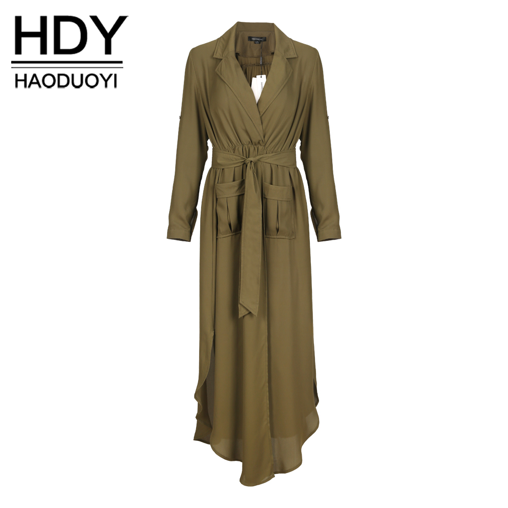 NEW FASHIONS  HDY Haoduoyi Chiffon Longline Coats Women Long Sleeve Turn-down Collar Female Outwear Slim Split Army Green Trench Coats