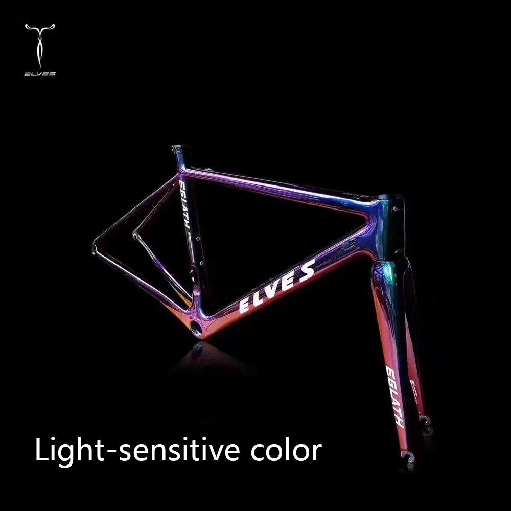 elves Bicycle Frame Light-sensitive color Carbon Road Bike Frame Super Light carbon Climbing road Frame+Fork+headset