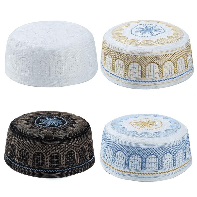 Muslim Cotton Embroidery Arab Men Prayer Hat Musliman Turban Man Hijab Bonnet Saudi Arabian Hats Jewish India Caps