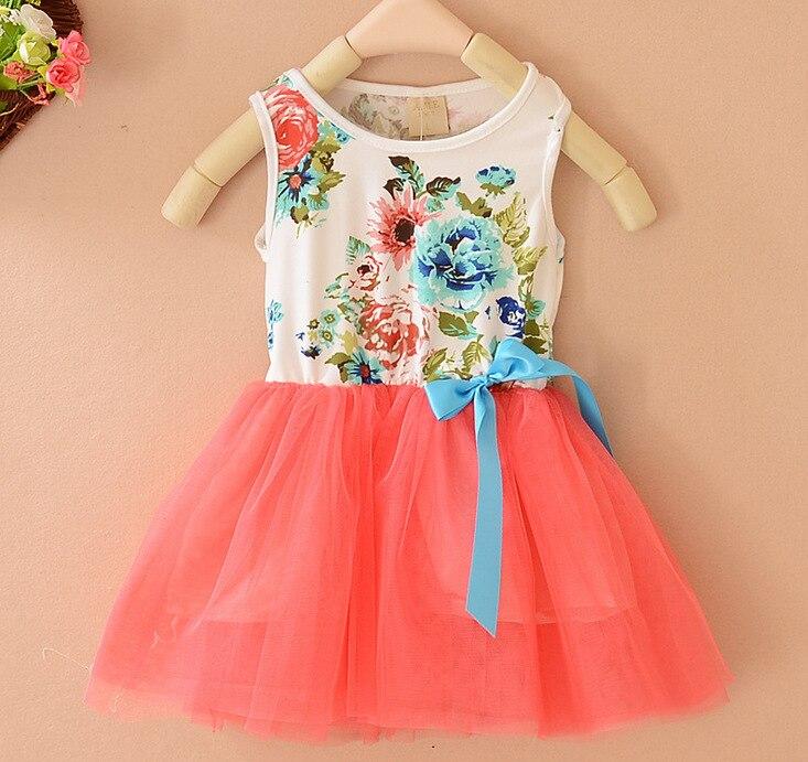Foreign Trade Dresses Summer 2016 New Girls Floral Vest Dress Girls Tutu Dance Dress