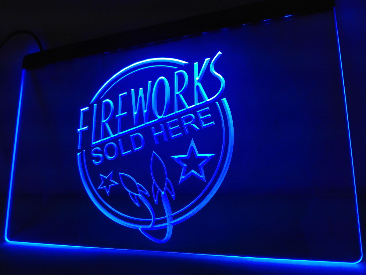 Plaques & Signs Home Decor Fireworks Sold Here New Displays Led Neon Light Sign Home Decor Crafts Unequal In Performance Lb582