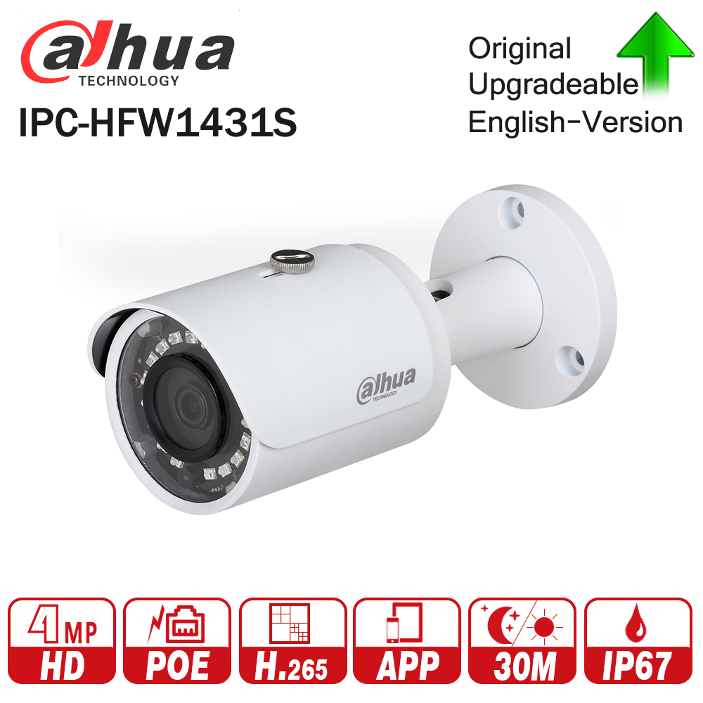DaHua IPC-HFW1431S 4MP Mini Bullet IP Camera Night Vision 30M IR CCTV Camera POE IP67 WDR Security update from PC-HFW1320S free shipping dahua cctv camera 4k 8mp wdr ir mini bullet network camera ip67 with poe without logo ipc hfw4831e se