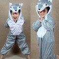 Pijamas de los niños lobo gris de dibujos animados de animales de pollo Cosplay niños Onesies de dormir año nuevo navidad