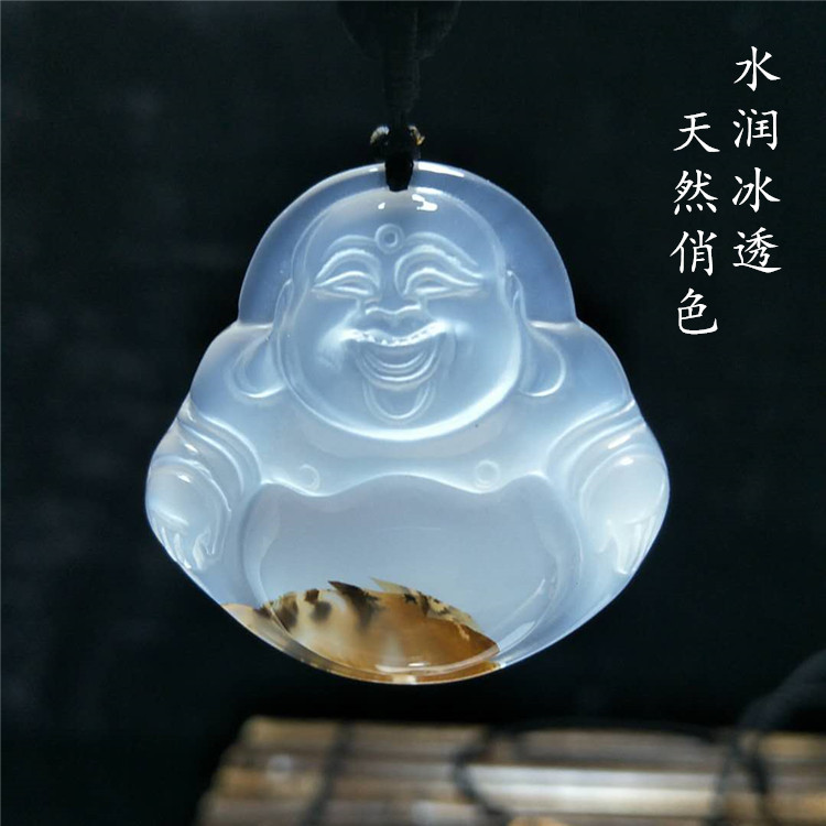 TJP natural madagascar ocean Ice species agate chalcedony laughing buddha pretty color jade buddha pendant for women and men natural green buddha a buddism buddha pendant saint cut the life of buddha zodiac men and women necklace will day jade emerald
