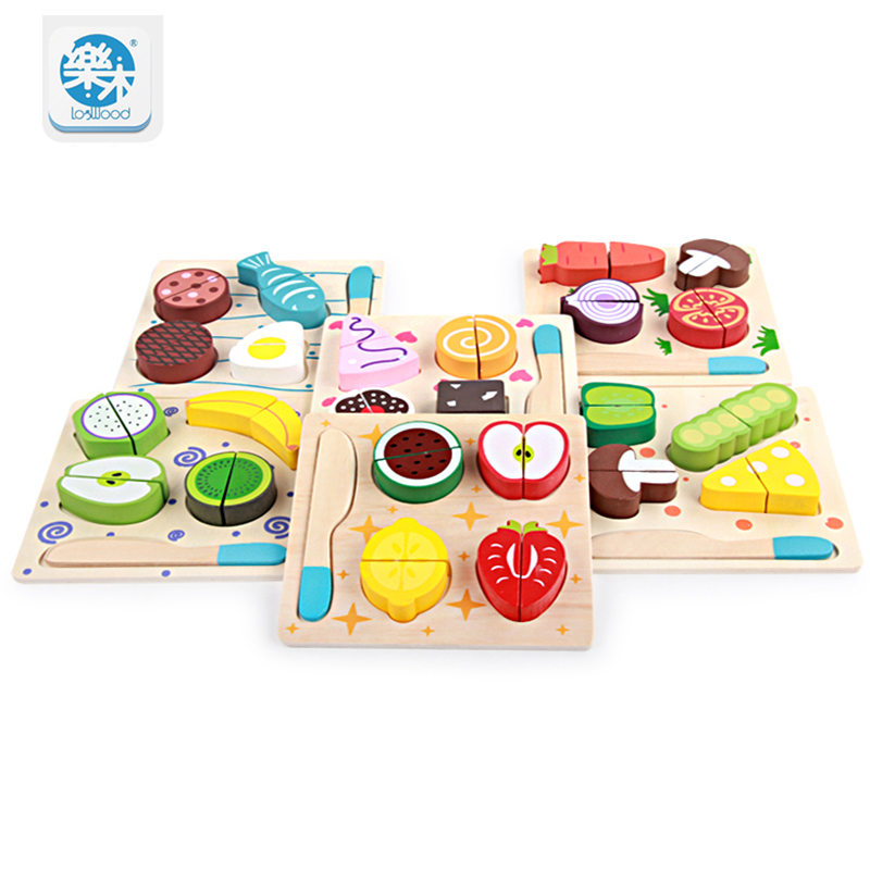 Logwood Wooden kitchen toys cutting fruit and vegetables board real life toy 6 models children Educational baby toys