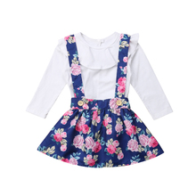 Toddle Kids Baby Girl Long Sleeve T Shirt Tops Floral Overall Mini Skirt Outfit Clothes Set 1-6Y 2019
