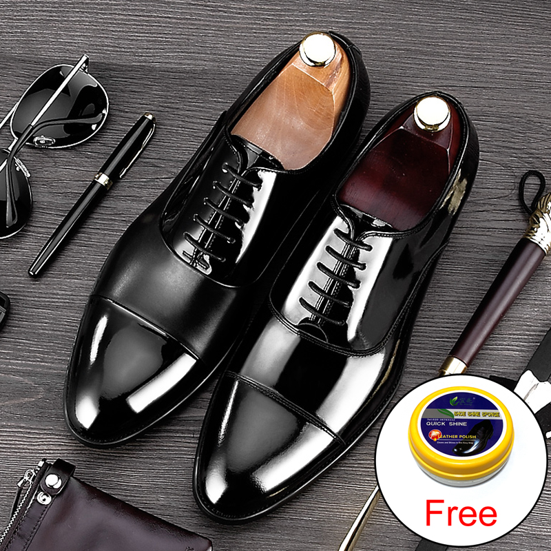 2019 New Arrival Formal Derby Man Dress Shoes Male Patent Leather Handmade Oxfords Luxury Brand Men