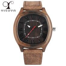 1d2653450b30 Relojes de madera únicos marca superior Irregular cuadrado Dial hombres  cuero genuino reloj de cuarzo hecho a mano bambú pulsera.