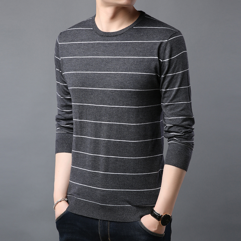 2019 Spring Sweater Men's Sweater Navy Shirt Men's Fashion Striped Business Casual Knit Sweater Men's Slim Bottoming Sweater