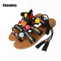 Bohemia Style Fringed Pompoms Lady Gladiator Sandals Shoes Cross Strap Tie Up Women Flats Sandals Fringed