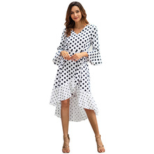 Summer women vintage dress casual polka dot print lotus edge party dress sexy v-neck long sleeve large size dress vestidos 2019