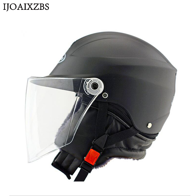 Black Safety Helmet Hard Keep Warm Open Face  Detachable Off Road Protect Helmets Motorcycle Cycling Winproof Hat