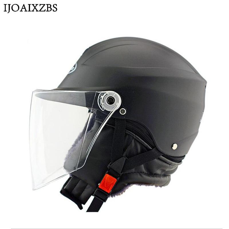 Black Safety Helmet Hard Keep Warm Open Face  Detachable Off Road Protect Helmets Motorcycle Cycling Winproof Hat 1000m motorcycle helmet intercom bt s2 waterproof for wired wireless helmet