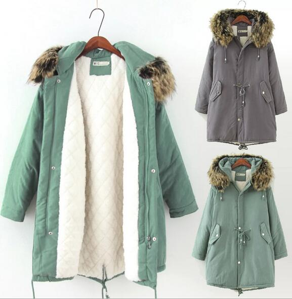 New 2016 women winter coat cotton wadded jacket medium-long plus size 4XL Parka fur collar thickening hood female snow wear new 2015 autumn winter outdoors medium long fleece jacket fur hooded army green parka men thickening coat 10