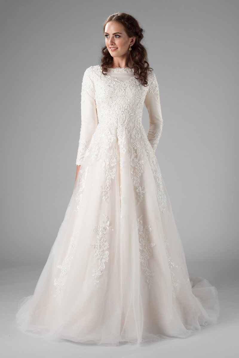 Champagne A Line Modest Wedding Dresses With Long Sleeves High