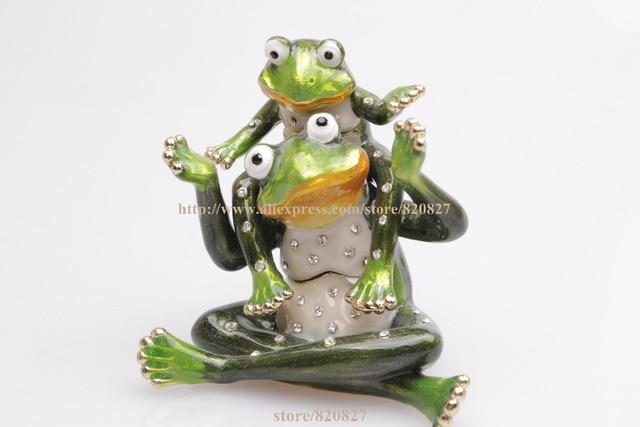 Handmade Frog Trinket Box Frog Ring Box Mother Frog and BabyHandmade