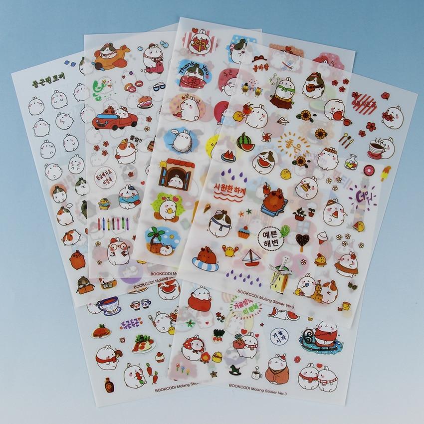 12 Sheets/2 Sets Korea Cartoon Sticker Potato Rabbit the Third Quarter Series Stickers Kawaii PVC Sticker School Supplies the rhyming rabbit sticker book