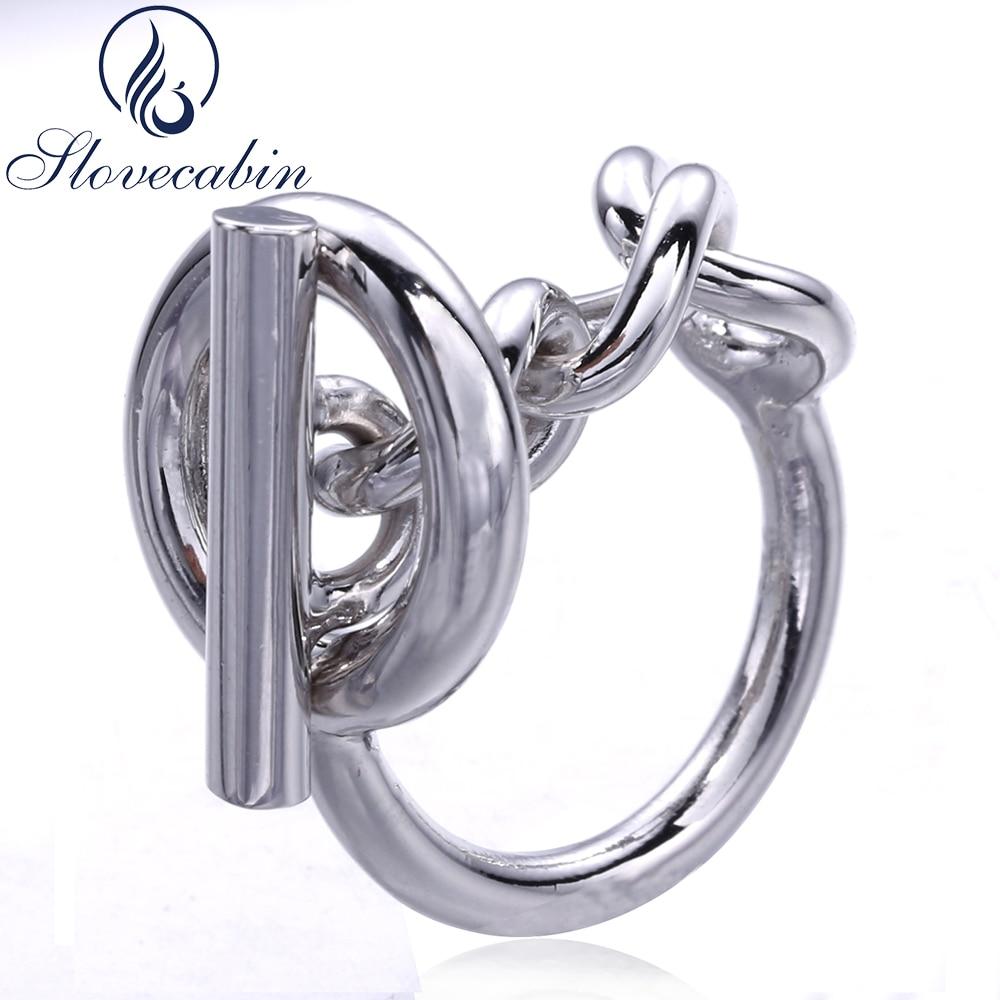 Slovecabin 2017 France Populaire Bijoux 925 Sterling Argent Corde Chaîne Anneau Pour Les Femmes de Verrouillage Rotatif Alliance Fine Jewelry
