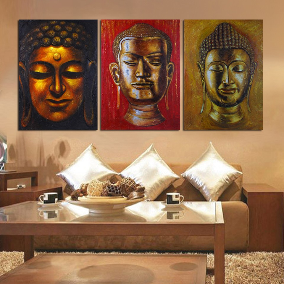3 Panel Wall Art Inspiration 3 Panel Wall Art Religion Buddha Oil Style Painting Printed On Decorating Inspiration