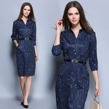2017 Autumn Women dress Three Quarter Sleeve Print Half Long Ol In Dresses Blue 6630