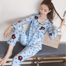 2019 New Spring Autumn Women Pajamas Set Cute Winter Polyester Sleepwear Cartoon Casual Homewear Nightwear Pajama Pyjamas