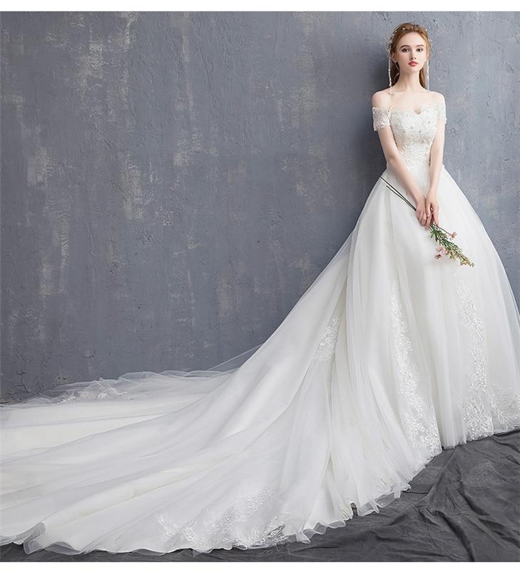 Luxury Lace with 120cm Long Cathedral Train Wedding Dress Appliques Boat ead Sexy BoNeck Bridal Gown Vestido De Novias Princess-in Wedding Dresses from Weddings & Events    3