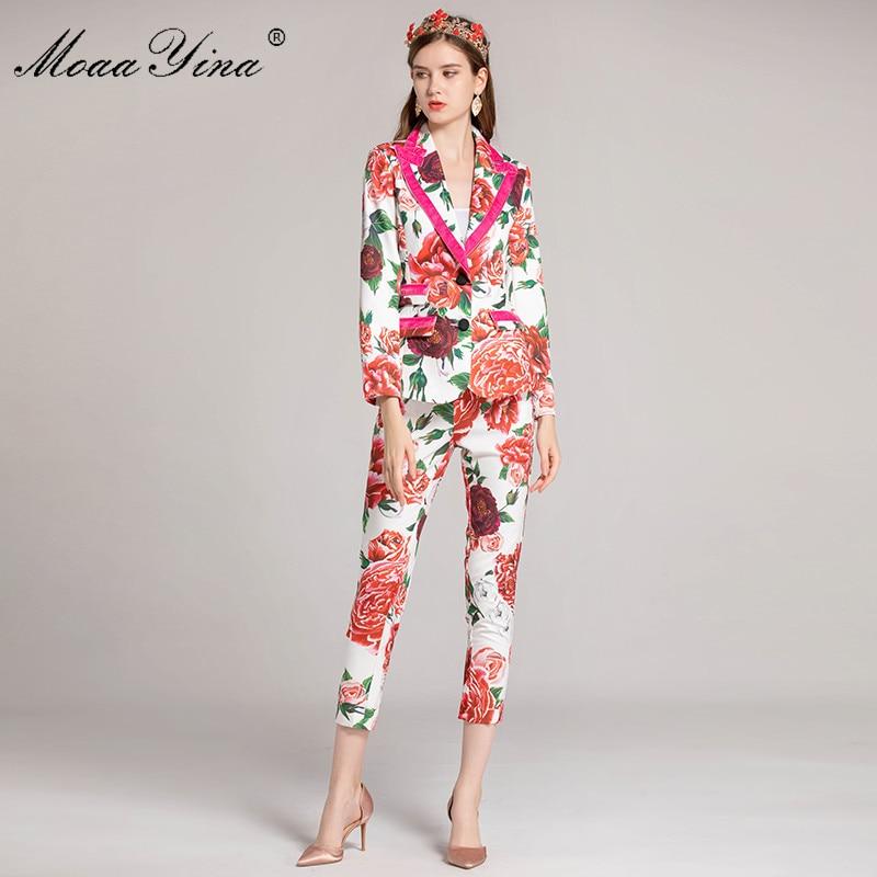 Floral Beauté 4 À Rose Designer 3 Longues Pantalon Costume Chemise Manches Élégante Moaayina Multi Moulant Impression Femmes Ensemble Automne Piste Fashion vBxqxFfw