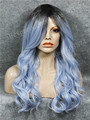 WM-2 Rooted Glacier Blue Color Popular Synthetic Dark Rooted Blue Two Tone Wavy Skin Top Cosplay Synthetic Wigs
