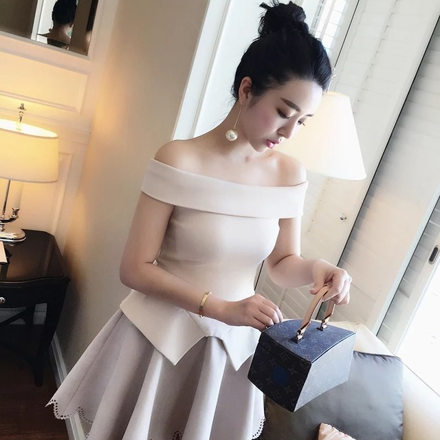 Free Shipping New Arrival Sexy Fashion Style 2016 Women White  Elegant Off Shoulder Bandage Top with Fluted Hem