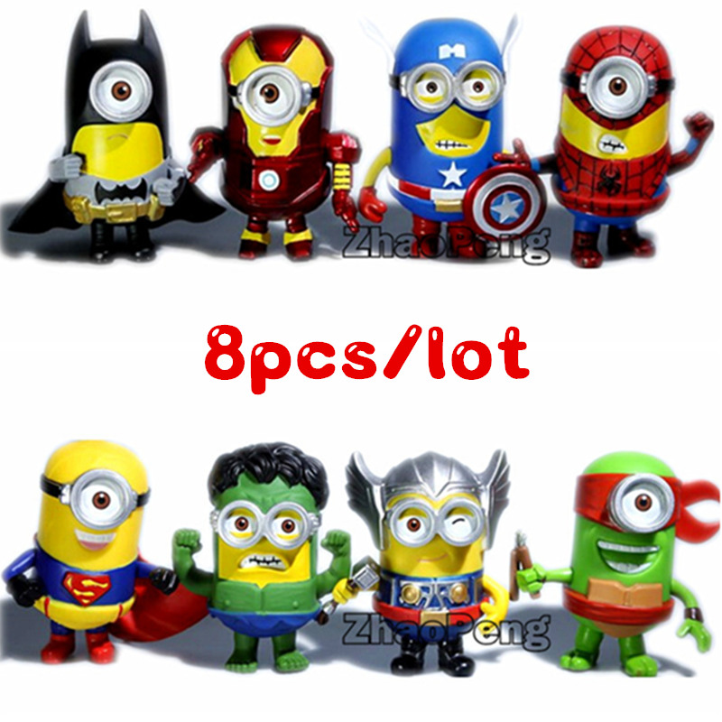 8pcs/lot 3D Eye Minion Cos Superheroes Spriderman Hulk Thor Iron man PVC Anime Figures Kids gift Toys for Children brinquedos 3d eye minions cos the avengers superheroes iron man captain american pvc action figures kids collection model toys 12cm