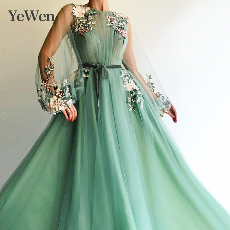 Green Formal   Evening     Dress   Women Elegant   Evening     Dresses   Lace Appliques Robe De Soiree   Evening   Gown Vestidos De Fiesta De Noche