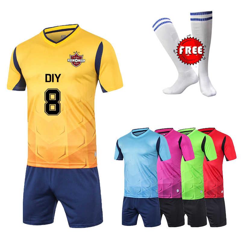ddedc92daaa Free Socks Kids Boys Survetement Football Jerseys Sport Kits Girls Soccer  Jerseys Sets Tennis Jersey Shirts