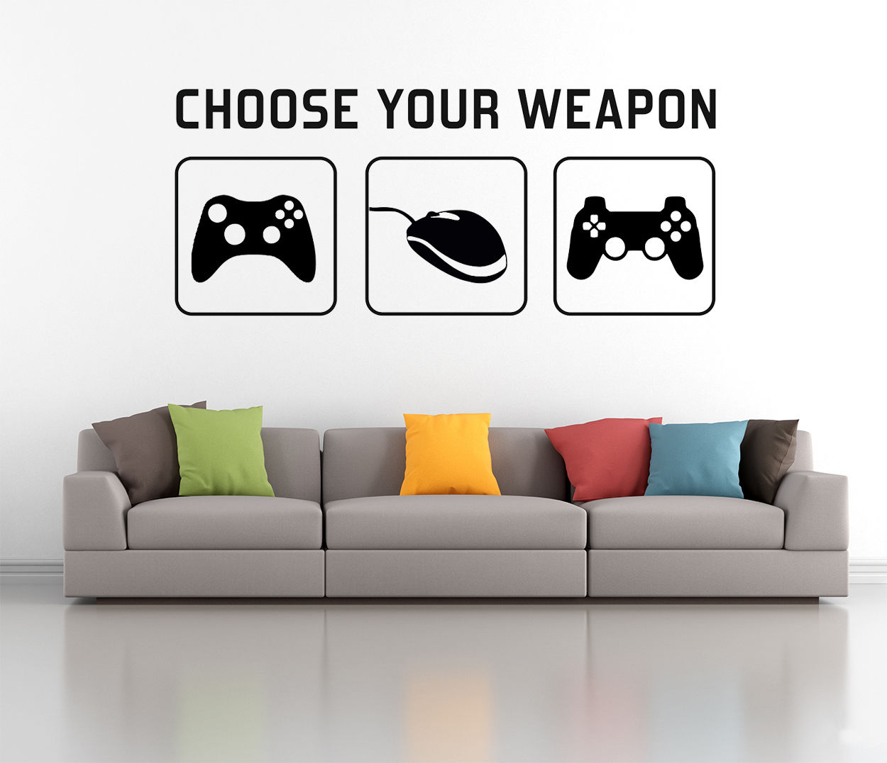 C162 CHOOSE YOUR WEAPON Gaming Wall Decal Sticker   Video Game Xbox  Playstation Mural Home Decor