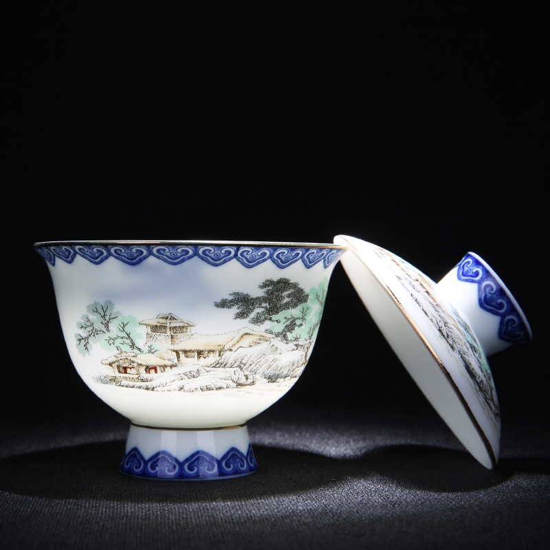 PINNY Hand Made Embossed Gaiwan Blue And White Porcelain Kung Fu Tea Set High Quality Portable Tea Pot Chinese Vintage Tea Cup in Tea Tureen from Home Garden