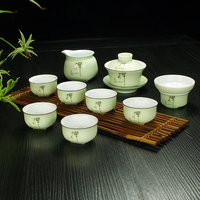 Jingdezhen chiny seledyn herbaty zestaw ceramiczny ceramiki porcelany niebieski i biała herbata kubek czajniczek Kung Fu zestaw herbaty w Zest. naczyń do herbaty od Dom i ogród na