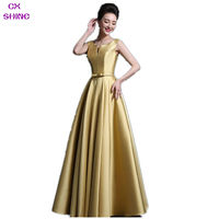 CX BRILLO de TAMAÑO Personalizado Color Fucsia Oro cuello en V de Noche largo vestido de pocket party prom mujeres vestido traje formal, más tamaño