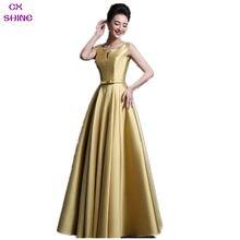 CX SHINE Custom Color SIZE Fuchsia Gold V neck long Evening dress pocket party prom dresses women vestido formal robe plus size