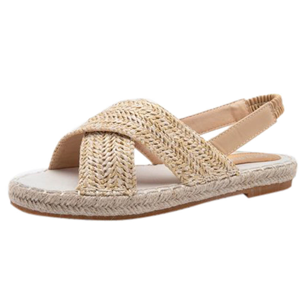 SAGACE Roman Sandals Flats-Straw Hemp-Rope Casual-Shoes Elastic-Band Sexy Womens Fashion