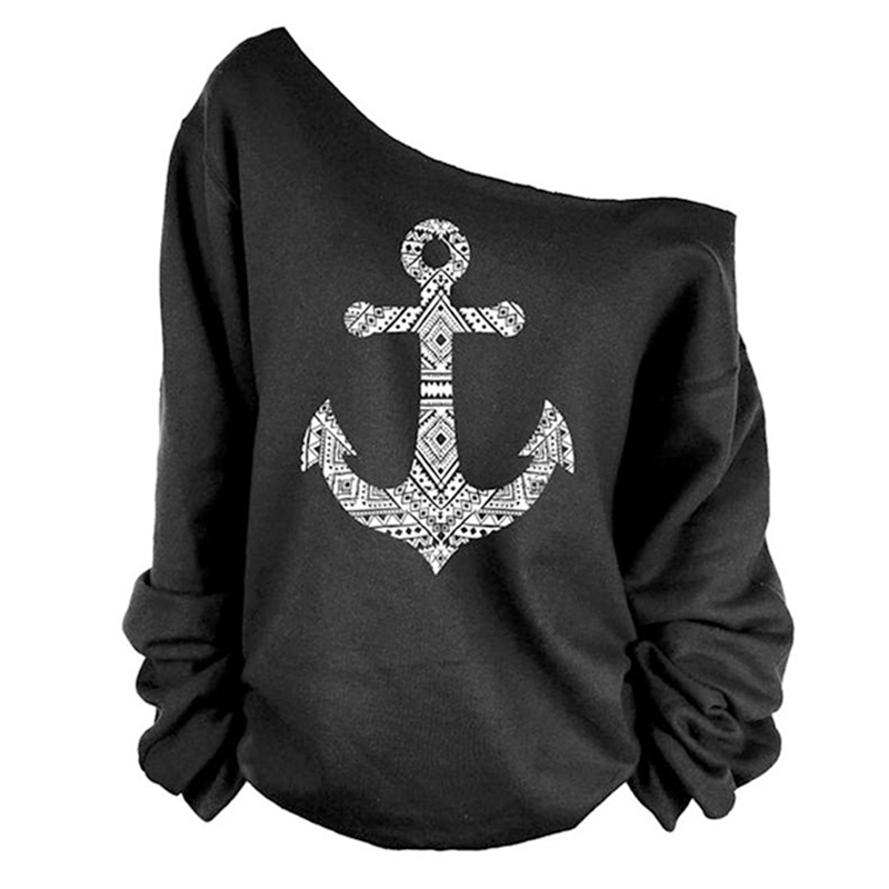 Hot Womens Long Sleeve Tshirt Off Shoulder Anchor Print Hoodie Oversized T shirts Jumper Pullover