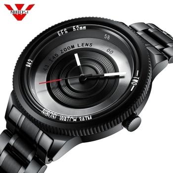 NIBOSI Photographer Series Unique Camera Style stainless Strap Men Women Casual Fashion Sport Quartz Modern Gift Wrist Watches