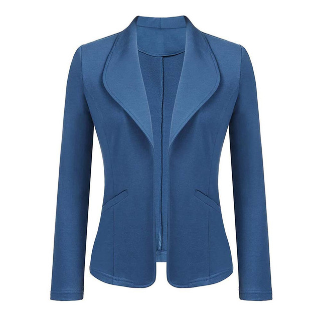 Feitong Women Blazer Jacket Fashion 2018 Women Long Sleeve Solid Cardigan None Button Elegant Work Office Slim Coat Lady Suit/PT 1