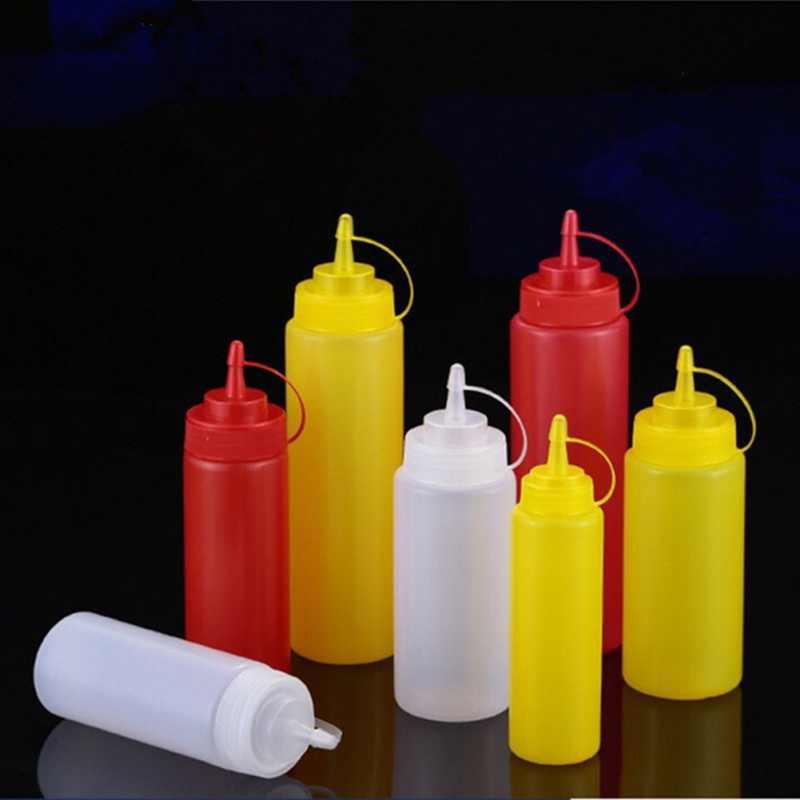 650 ML Frasco de Óleo Pote de Molho de Plástico Portátil Doméstico Tomate Jam Salada Molho squeeze Garrafa material de Cozinha Vermelho