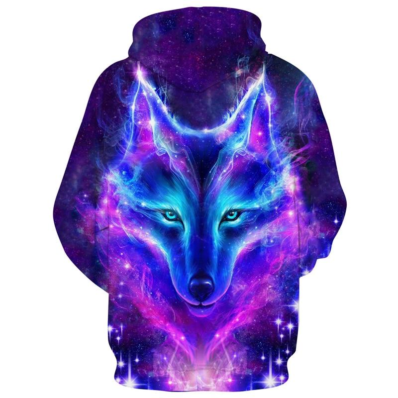 2019 Galaxy Wolf Printed Hoodies Men 3d Sweatshrit
