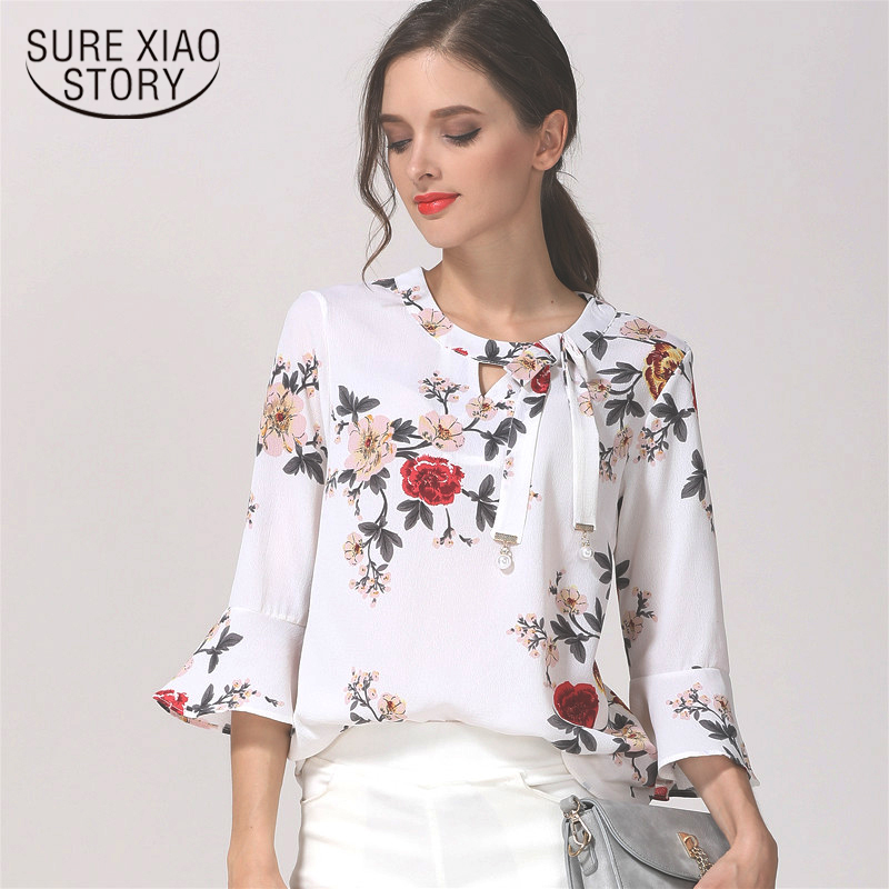 126f259774a New 2018 Fashion Printed Chiffon Women Blouses Shirt Floral Flare ...