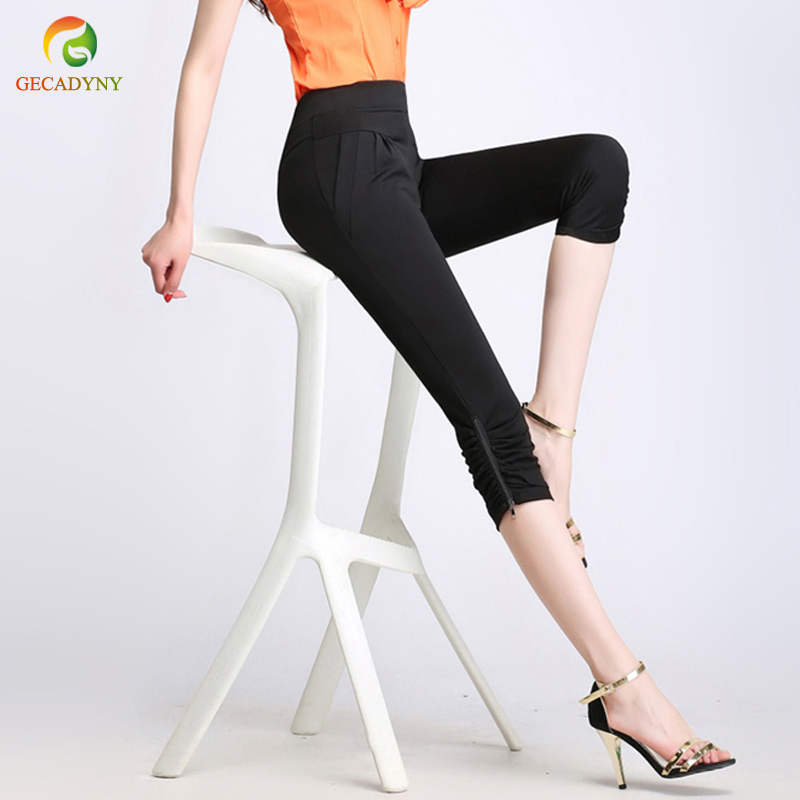 Plus Size S-4XL Harem   Pants   Women Solid Stretch Calf Length Summer Pencil   Pants   Zippers Casual   Pants     Capris   Trousers Girls