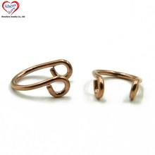 Showlove-Rose Gold Fake Septum Clicker Nose Ring Faux Piericng Nose Labret Rings(China)