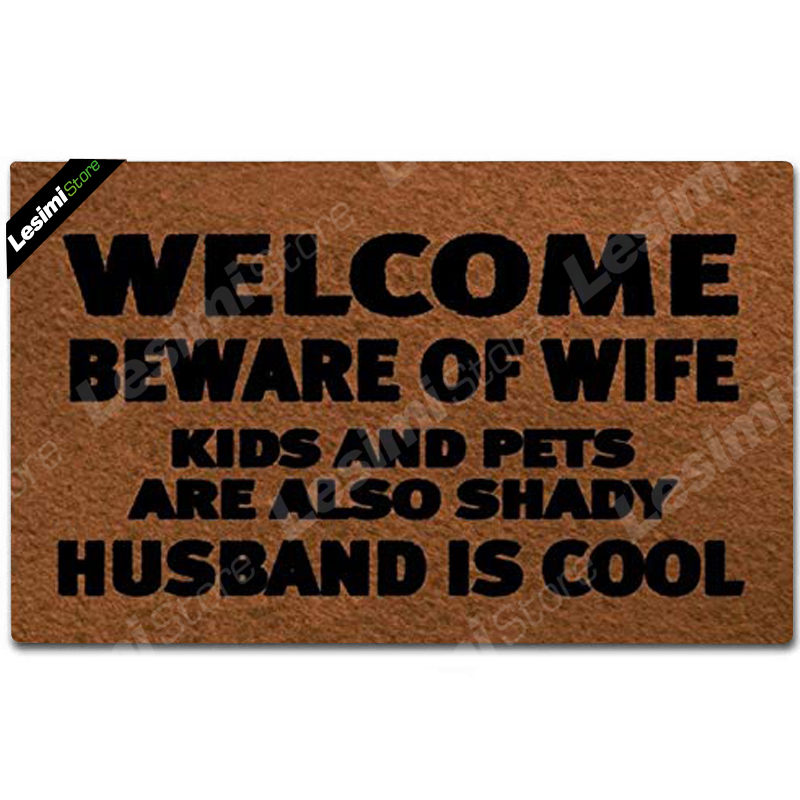 Entrance Door Mat Funny Doormat Welcome Beware of Wife Kids and Pets are Also Shady Husband is Cool Home Floor Mat Area Pad image