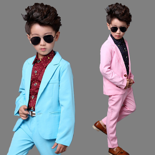 6a181aa4c Baby Prom Suit bright Pink Blue Child Blazer Suit Boy Clothes Formal ...