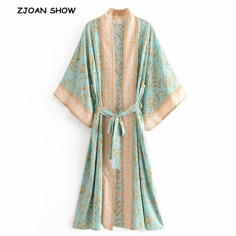 2019 Bohemian Turquoise Floral Print Long Kimono Shirt Ethnic New Women Lacing Up Bow Sashes Long Cardigan Loose Blouse Tops