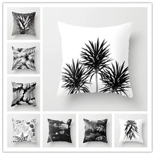 Nordic Style Home Decorative Cushion Cover Black White Deer Tropical Leaves Cactus Cushions Case Pillow Decor 45x45cm